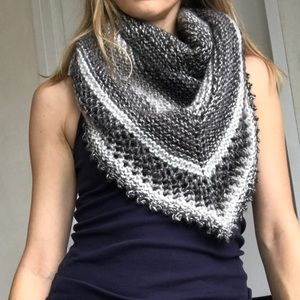Handmade black and white triangle scarf